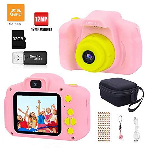 YunLone Fotocamera Bambini 12MP Selfie Fotocamera Digitale per Bambini FHD 1080P Videocamera Regali per Ragazze Ragazzi da 3-8 Anni, 8X Zoom/Scheda 32 GB/Custodia Inclusa - Rosa