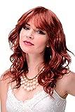 WIG ME UP - Parrucca Donna Leggero effetto bagnato Rosso Rosso ramato Mezza lunghezza Frangetta Riga circa 50 cm 5019-350