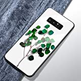Samsung Galaxy Note 8 colorate Cover, Hpory Custodia Samsung Galaxy Note 8 - Protettiva TPU Vetro Temperato Indietro Custodia, Back Case Antiurto Protezione Dust Resistant Bumper Cover, Foglia verde