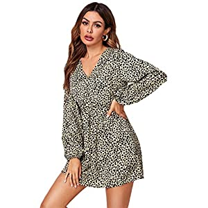 Romwe Women's Allover Print Wrap V Neck Swing A-Line Casual Party Short Dresses