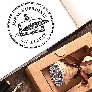 Sello Personalizado Ex libris, Sellos Personalizable Pluma de Plumaje Tinta Libro, Sello Libros Personalizado Madera, Caja...