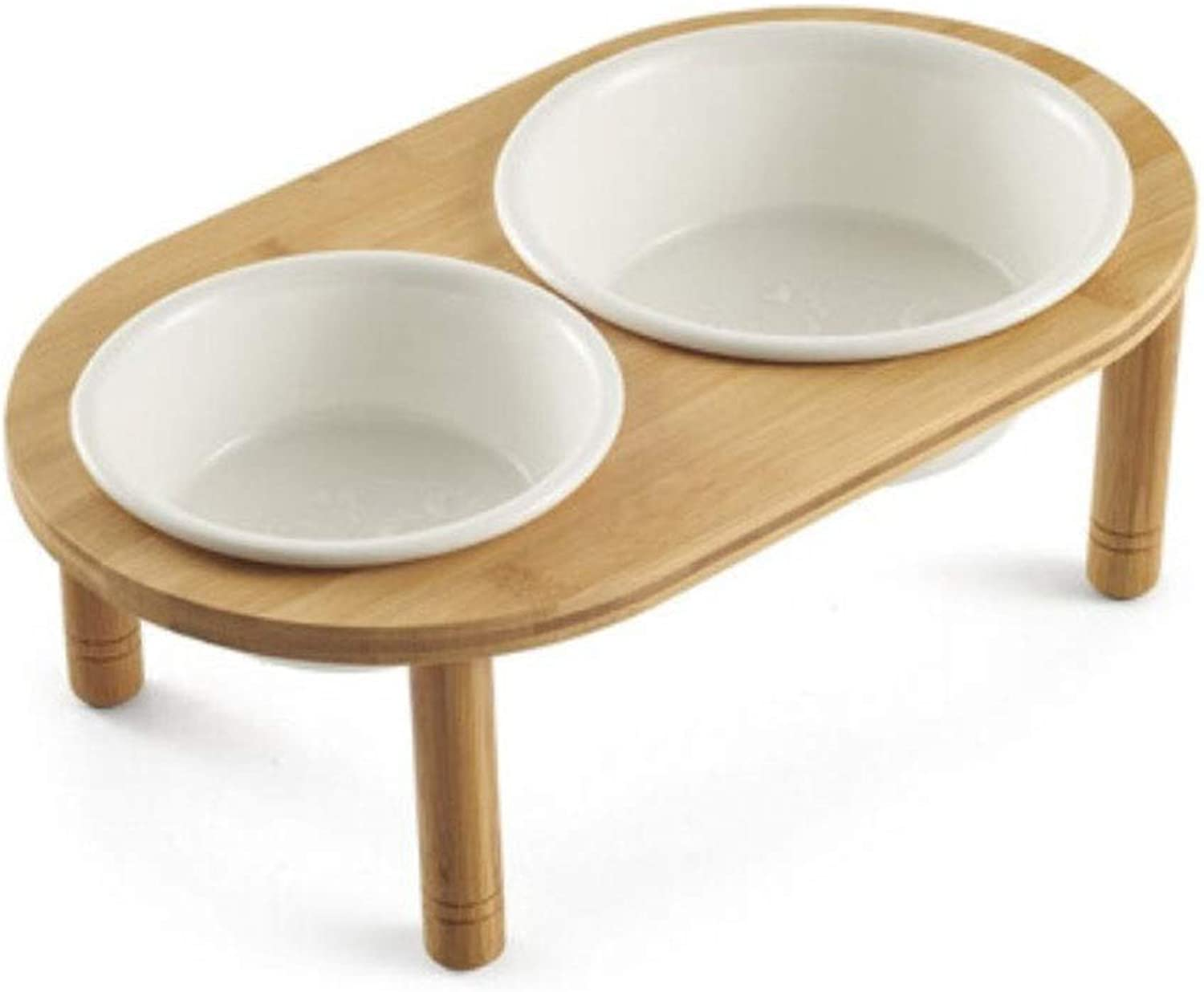 Ceramic Dog Cat Food Pet Bowl with Elevated Stand Feeder Desk,Wood Dish Rack Feeding Stations,a Large and a Small Bowl for Dry or Wet Food and Water