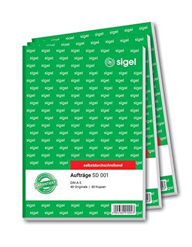 SIGEL SD001 Auftragsbuch A5, 2x40 Blatt, selbstdurchschreibend, 3 Stück