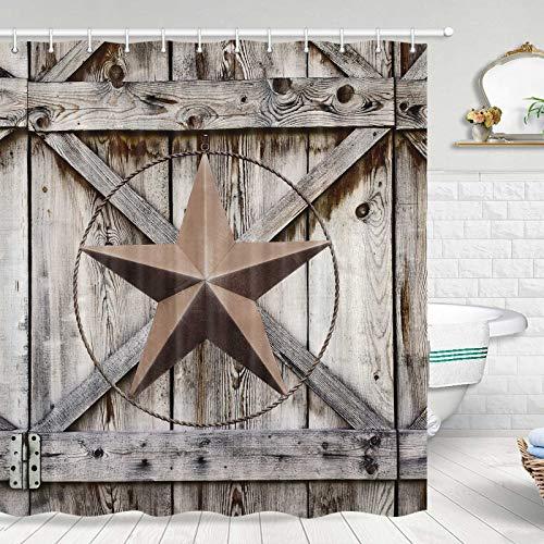 Rustic Western Shower Curtain, Western Texas Star on Rustic Wooden Shower Curtain Set, Farmhouse Barn Door Shower Curtain Set, Farmhouse Style Texas Star Bathroom Decor, 72x72 Inches Machine Washable