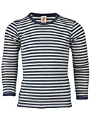 KBT - Maglietta a maniche lunghe per bambini in pura lana merino IVN Best Blau Melange/Natur 10 anni