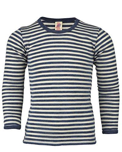 Kinder Unterhemd langarm, Wolle maschinenw., Engel Natur, 2 Farben, Gr. 92 - 176 (104, Blau melange/Natur)