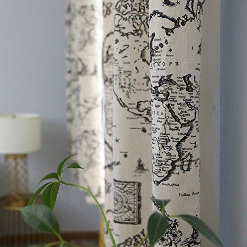 Rideaux et rideaux Court rideau Rideaux occultants Moderne Carte Noir Coton et lin en tissu Impression pour Traitements de fenêtre Rideaux finis Haut à oeillets Un panneau 140 * 215 cm