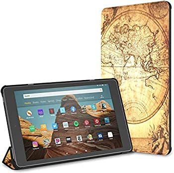 Kindle Case Pu Leather Smart Cover Vintage Map World 1733 Kindle Fire 10 Inch Tablet Case Kindle Fire Hd 10 Inch Tablet Case 9th Gen 2019/7th Gen 2017  with Auto Wake/Sleep