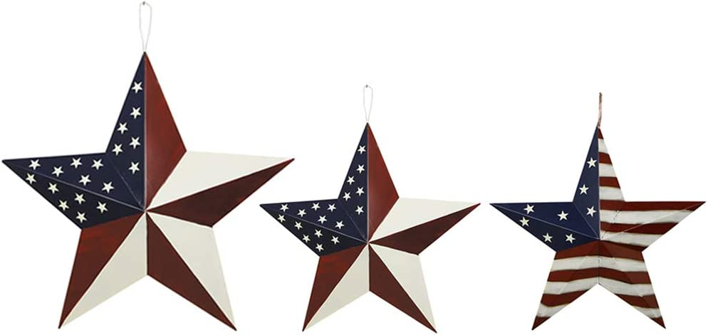 Morning View Americana Metal Barn Star of 3 American Patriot New arrival Set In stock