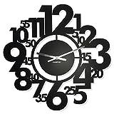 FLEXISTYLE Große Moderne Wanduhr Numeri 50cm Metall, schwarz, hergestellt in EU, Wohnzimmer Schlafzimmer, Flur, Büro
