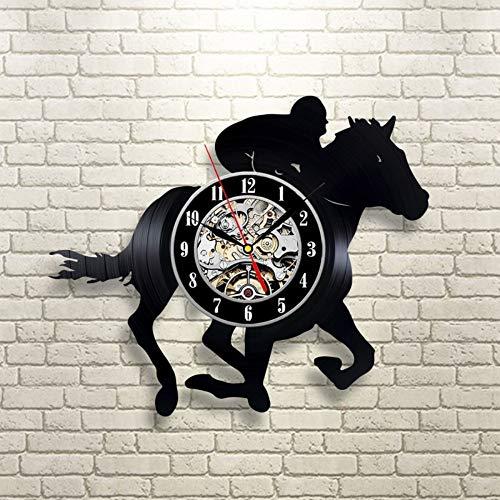 Reloj de pared con disco de vinilo de carreras de caballos de 30 cm Reloj de pared con registro de CD negro personalizado para jinete Reloj de pared con registro de música moderno y moderno Arte hec