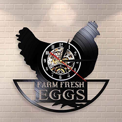 BFMBCHDJ Lustige Huhn Silhouette Wanduhr Farm frische Eier Bauernhaus Stil Hahn Vintage Rekord Wanduhr Moderne Tier Wanddekoration