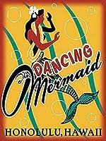 踊る人魚、ブリキのサインヴィンテージ面白い生き物鉄の絵の金属板ノベルティ