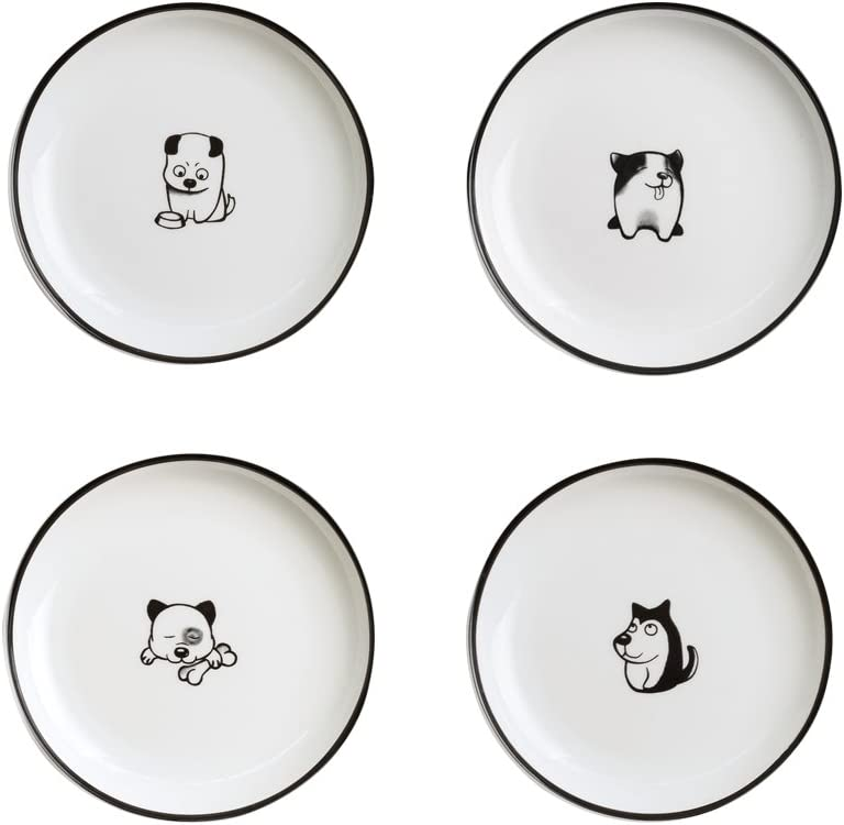 WAIT FLY 5 Inches Funny Dog and Cat Pattern with Brush Strokes Ceramics Seasoning Dishes/Tea Bag Holders/Ketchup Saucer/Appetizer Plates/Seasoning Dipping Bowls, Set of 4