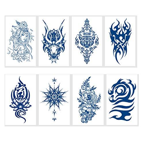 LINGREAL 8 feuilles tatouages temporaires pour femmes hommes tatouages imperméables autocollants dame fille garçon épaule tatouages bricolage bras dos joli motif