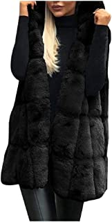 Howely Women Hooded Thermal Fashion Cardigan Faux Fur Vest Jacket
