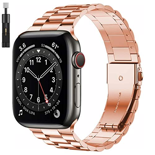 Versión mejorada Pulsera de acero inoxidable para Apple Watch 6 Se Band Series 5 4 3 44 mm 40 mm 42 mm 38 mm Correa comercial para Iwatch-S-rosegold y herramienta, SE 44 mm