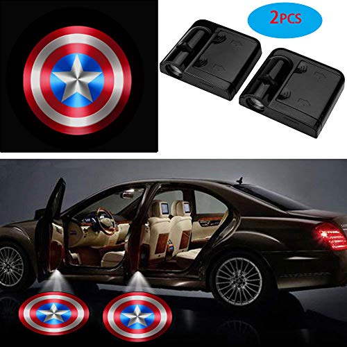 3D Ghost Shadow Emblems Wireless Door Logo Shadow Ghost Lights (2pcs) fit Ford Focus 2 Fiesta F150 Mondeo Transit Mustang etc (Captain American)