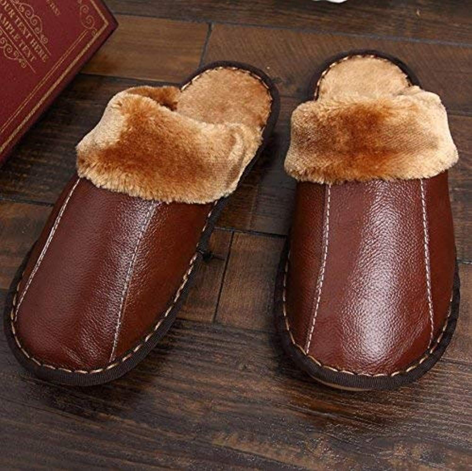 GouuoHi Men Slipper Men's Casual Sandals in Autumn and Winter The Indoor Warm Faux Leather Padded Slippers for Men Black Brown