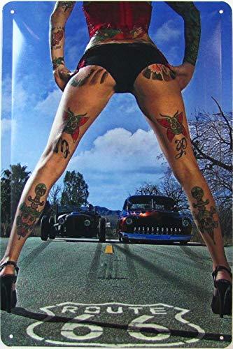 Cartel de chapa 20 x 30 cm abombado Pinup Girl Pin up Sexy Tattoo Route 66 Hot Rod Decoración Regalo Cartel