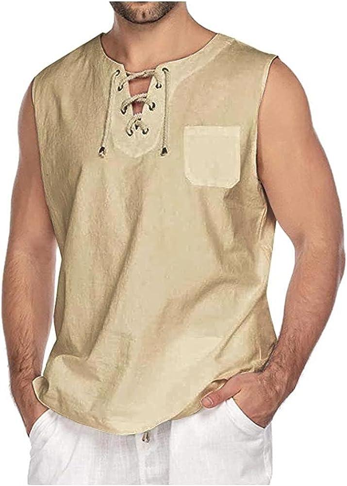 SCOFEEL Men's Linen Shirts Sleeveless Summer Casual Loose Fit Beach T-Shirt Tops