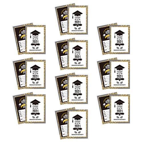 STOBOK Cartões Do Convite da Festa de Formatura Grad Graduação 2021 Mensagem de Saudação Cartões de Dupla Face Decoração para a Graduação Da Escola Do Partido Do Tema