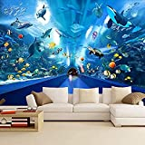 Papel tapiz de fondo con tema de acuario mundial submarino 3D, papel tapiz arqueado para pasillo de Pared Pintado Papel tapiz 3D Decoración dormitorio Fotomural sala sofá pared mural-350cm×256cm