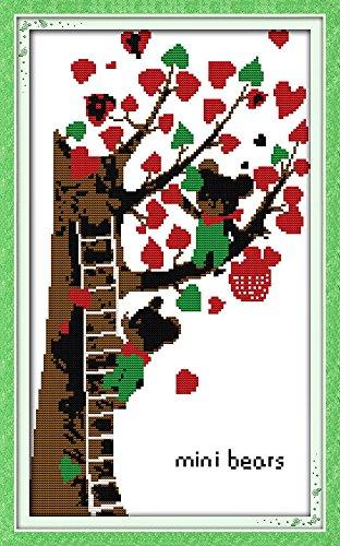 benway Kit point de croix compté Motif deux Mini Ours Cœur Arbre 14 de 27 x 27 x 45 cm