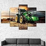 John Deere tractor cortacésped agricultura lienzo arte de pared 5 piezas lienzo pintura cartel impresión decoración imagen para decoración de habitación (Sin marco)