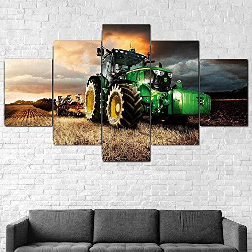 ERSHA 5 Piezas Lienzo Poster Cuadros Modernos Impresión De Imagen Artística Digitalizada Tractor Cortacésped Agricultura