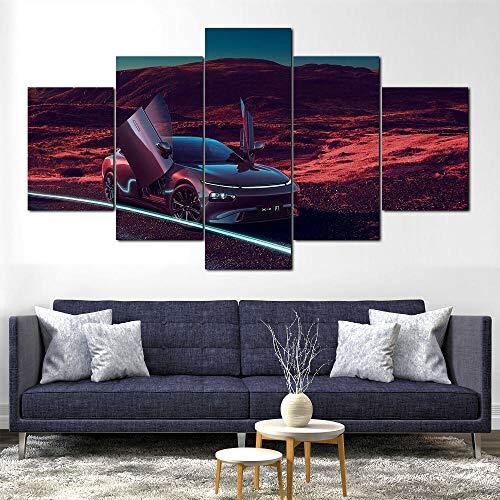 GHYTR Supercoche P7 Wing Lienzo 5 Piezas Abstracto Pared Arte Pintura Grandes Cuadros Marco 150×80Cm Cartel Pared Decoracion Hogar Murales Pared Sala Dormitorio Regalo