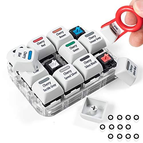 Griarrac Cherry MX Tasten-Tester, 12 Tasten, mechanischer Tasten-Sampler-Schalter mit Tastenkappen-Abzieher und 24 O-Ringen, 40A-L & 40A-R (inkl. Cherry MX Silent Speed)
