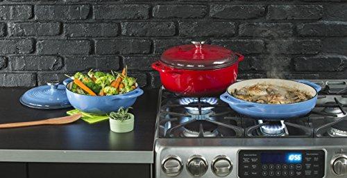 Lodge 3.6 Quart Enamel Cast Iron Casserole Dish with Lid (Carribbean Blue)