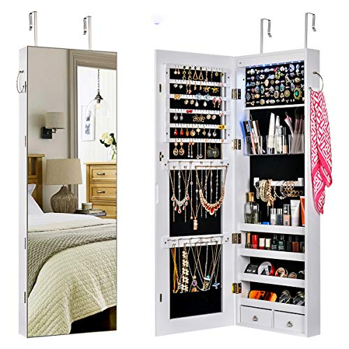 SUPREAN Schmuckschrank abschließbarer Wand/Türhänger Schrankorganisator mit Ganzkörperspiegel und LED Licht, platzsparender Make up Organizer Weiß