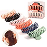 Hair Claw Clips 6 Pack Big Hair Claw Clips 4.3 Inch Nonslip Large Claw Clips For Thick Hair Strong Hold Jumbo Matte Hair Clips For Women Long Thick Hair Claw Hair Clips For Styling Jaw Clips Odorless 6 PCS Set