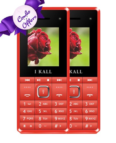 IKALL K2180 Basic Feature Mobile Phone Red 64MB Pack of 2