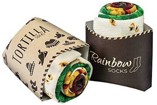 Rainbow Socks - Damen Herren Lustige Tortilla Wrap Socken - 2 Paar - Größen 41-46
