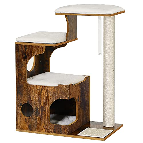FEANDREA 33.9 inches Cat Tree, Medium Cat Tower with 3 Beds and House, Cat Condo, Sisal Post and Washable Faux Fur, Vintage, Rustic Brown and White UPCT70HW