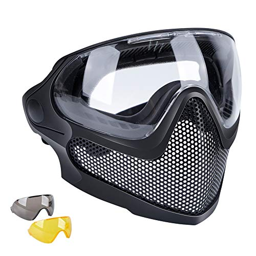 Tactical Paintball Airsoft Mask CS Wargame BB Guns Full Face Protection Steel...