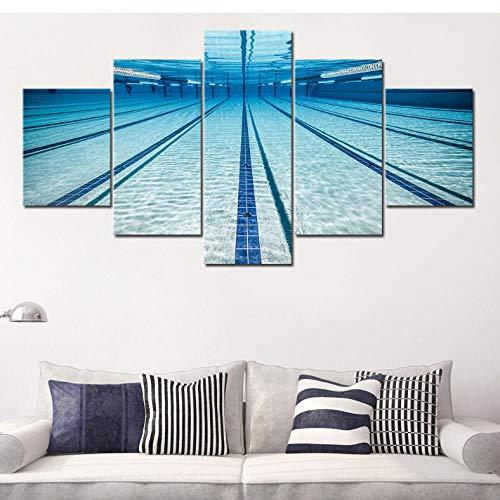 wuyii schildersdoek, 5 stuks, canvasschilderij met frame, schilderset, wandschildering, modern, modulaire zwembad afbeelding 30 x 40 cm x 2/30 x 60 cm x 2/30 x 80 cm x 1.