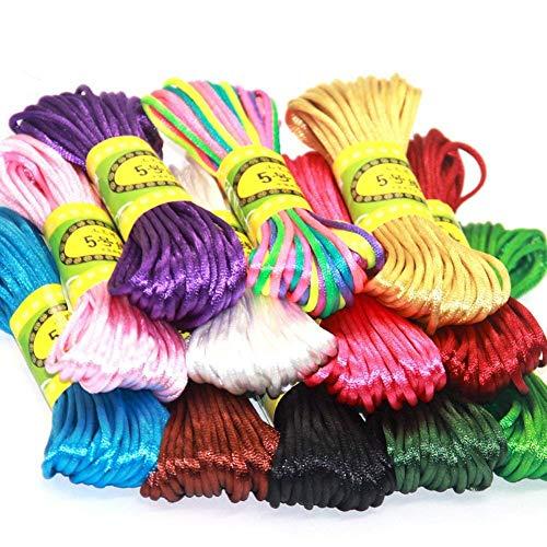 aoory 12 paquetes de 1,5 mm de seda de poliéster para collar trenzado, pulsera y abalorios, accesorio para hacer joyas, 10 metros cada uno