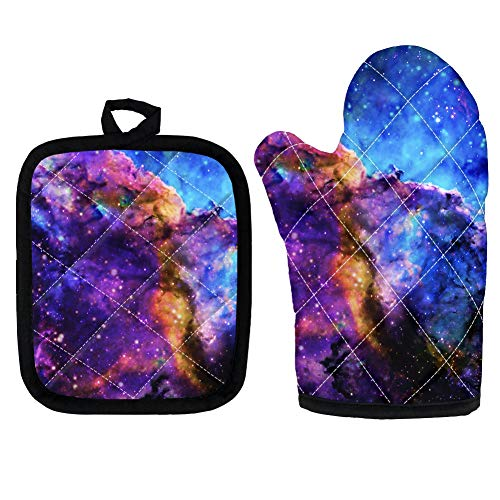 UOIMAG Outer Space Galaxy Oven Mitt Potholder Heat Insulation Glove Anti Scalding Hand Pad for Party Barbecue Cooking Baking
