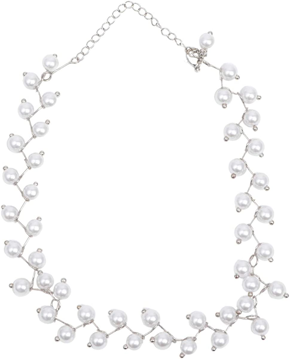 Holibanna Pearl Necklace Tin Cup Chain Collar Choker Alloy Bridal Wedding Cocktail Party Statement Necklace Costume Jewellery for Girls Ladies Women