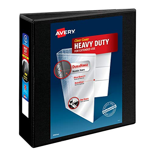 """Avery Heavy-Duty View 3 Ring Binder, 3"""" One Touch Slant Rings, Holds 8.5"""" x 11"""" Paper, 1 Black Binder (05600)"""