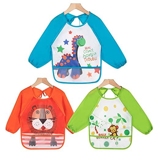 Haimoburg - Pack de 3 baberos con mangas resistentes al agua, protección contra la humedad, peto para bebés de 6a 36meses