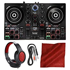 Designed for the learning DJ and professional alike with an intuitive compact design for use with the included DJUCED DJ software Dual-deck layout with touch-sensitive, capacitive jog wheels allow for vinyl-style cueing, track browsing, and pitchbend...