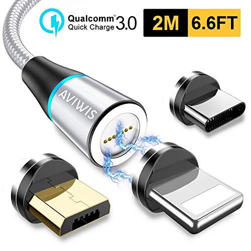 AVIWIS Cable USB Magnético, Multi 3 en 1 Cable Magnetic de Carga Cargador Iman con Adaptador Micro USB Tipo C IP Compatible con Android Galaxy, Xiaomi, Huawei, Honor (2M, Plata)