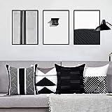 Alishomtll 4er Set Dekorativ Kissenbezug 45x45 cm Kissenhülle Zierkissenbezüge Muster DekokissenbezugGeometrie für Sofa Couch Polyester, Weiß Schwarz