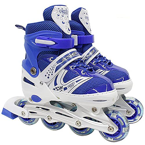 Profesional Niños Patines en línea Niños Patines Ajustable Patines Patines Niño Niña Zapatos Combo Set Single Flash,Azul,L