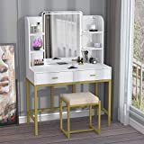 CABINAHOME Vanity Set with Lighted Mirror, Makeup Vanity Dressing Table with LED Lights, Storage Shelves, Cushioned Stool & 2 Drawers, Dresser Desk for Bedroom, Gold-White